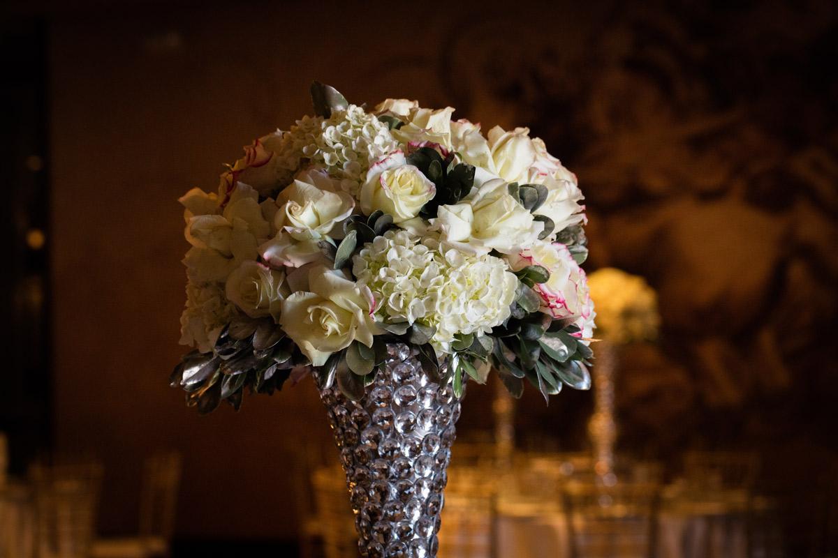 floral bouquet silver vase