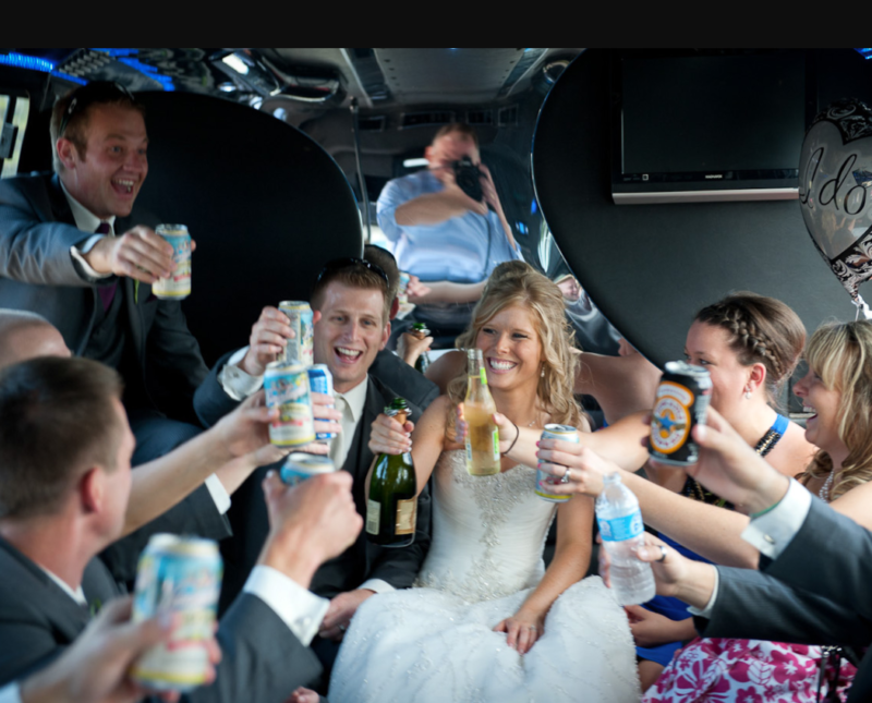 Bridesmaids And Groomsmen In Limo