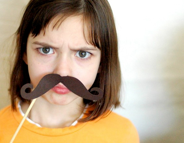 Little Girl With A Fake Mustache - Birthday Party Favors