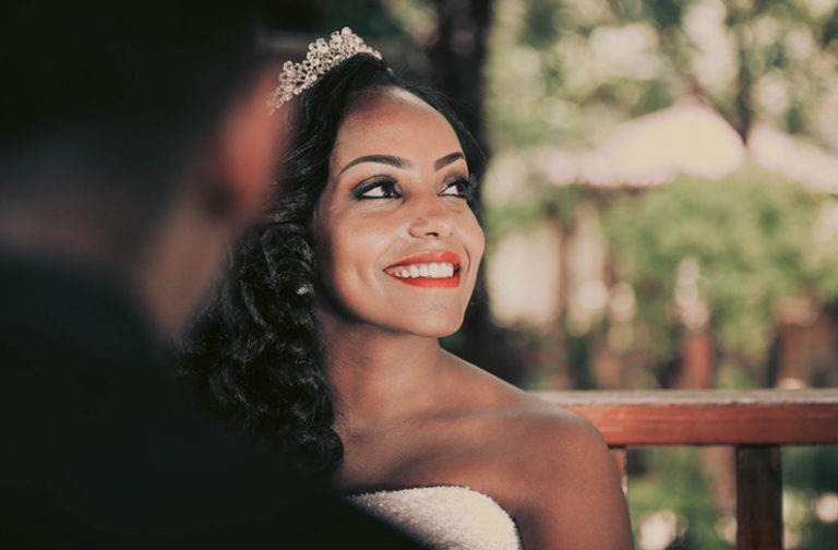 DIY Wedding Makeup - Smiling Bride Wearing Tiara