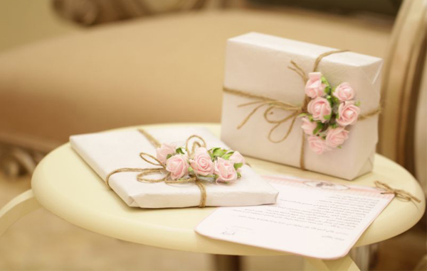 Wedding Gift Etiquette - White Gift Packages With Twine