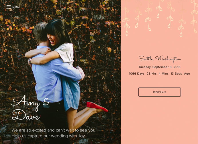 Good Wedding Sites - Joy Landing Page