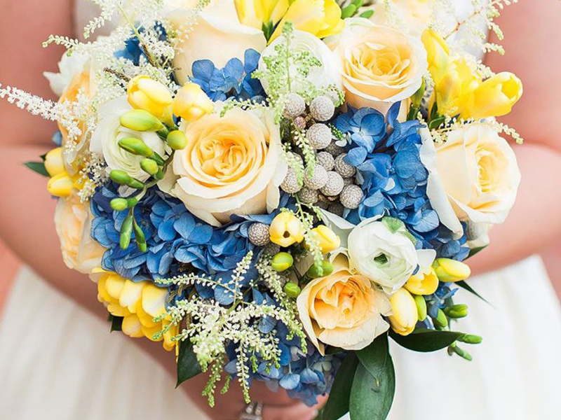 Spring Wedding Color Palette - Blue And Yellow Bouquet