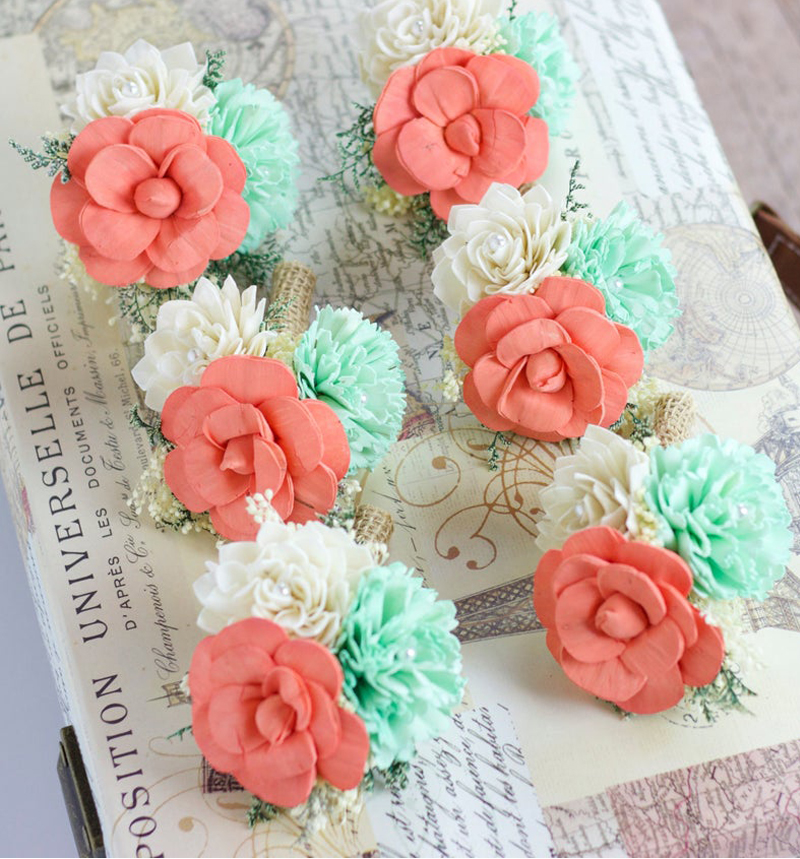 Spring Wedding Color Palette - Coral And Mint Boutonnieres