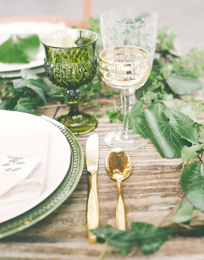 Spring Wedding Color Palette - Greenery Reception Table