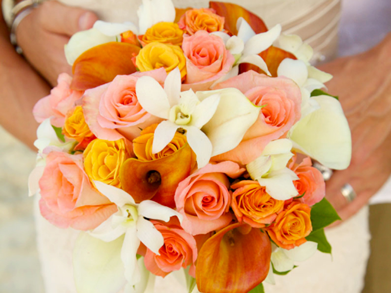 Spring Wedding Color Palette - Pink White Orange Bouquet