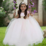 Pale Pink Cincoanera Dress With Hair Bow