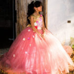 Pink And Gold Cincoanera Dress With Flowers And Tiara