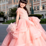 Pink Layered Cincoanera Dress With Tiara