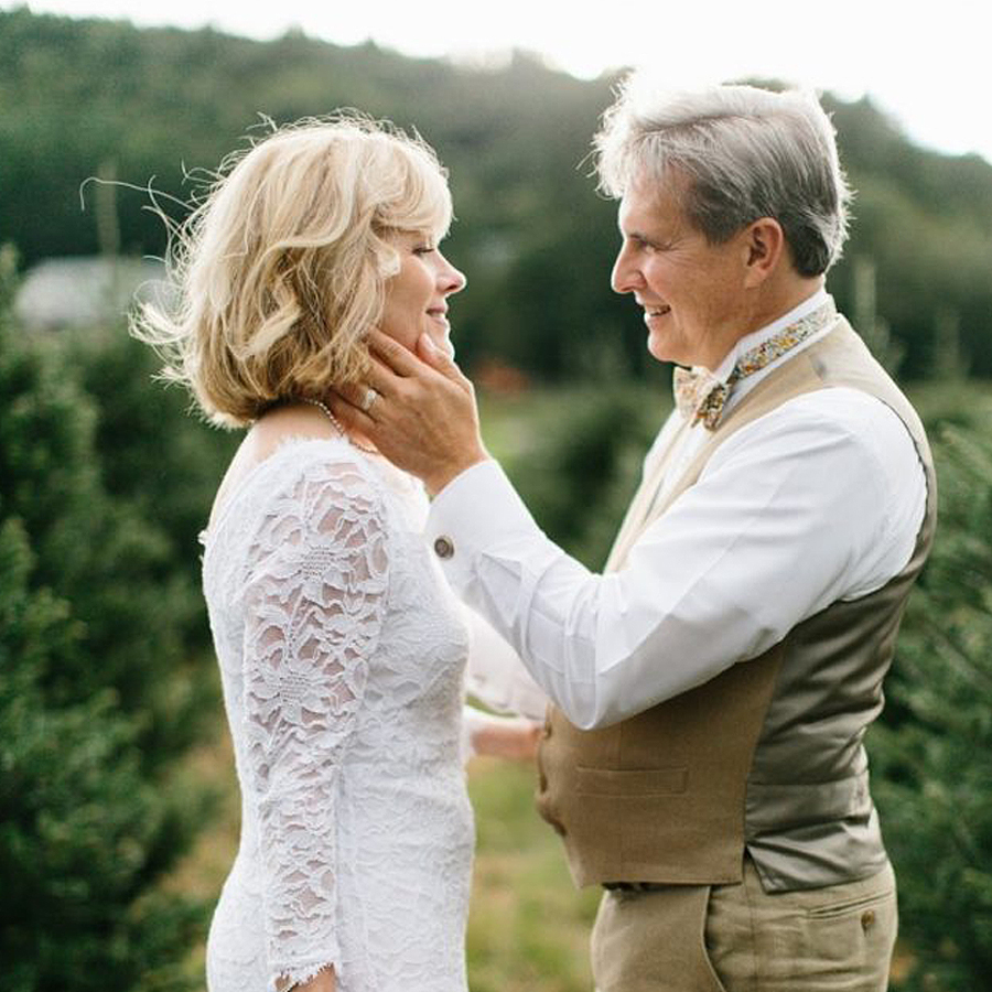 Bridal Style For Older Brides - Older Couple Outside